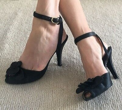 Black Italian Stiletto Heels, Satin Feel, Ankle Straps, Size AU 5