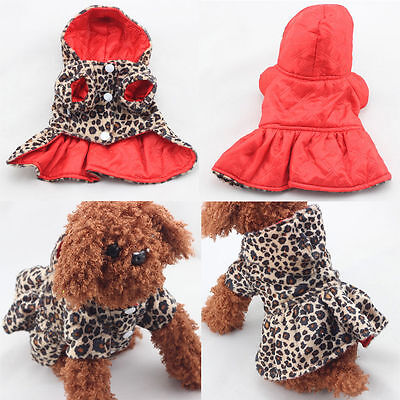 Small Dog Cat Princess Leopard Coat Clothes Puppy Hoodie Warm Tutu Pet Dress XS