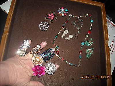 pile lot of 19 jewelry brooch ring earring necklace scarf rhinestones art glass