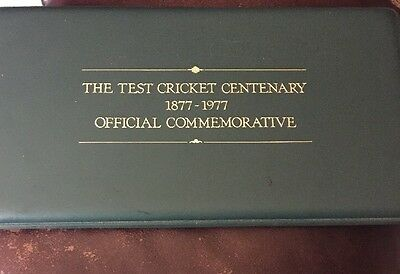 Australia Test Cricket Centenary Commemorative Stamp And Silver Proof Coin/medal