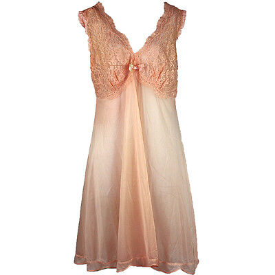 Vintage Vanity Fair Peach Nightgown Slip, Sheer Lace Bodice Bra, Nylon Tricot 40