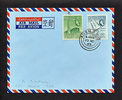 SABK 112 ADEN 1965 FDC COVER air mail minaret map