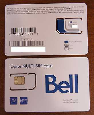 Bell Mobility (Canada) Nano SIM Card , Micro & Mini Multi-SIM card - New, LTE
