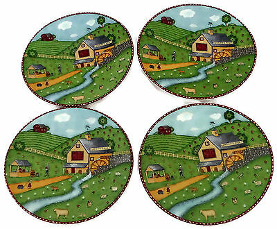 Sango Green Acres Set of 4 Oval Salad Plates Jacob's Mill and Apple Orchard