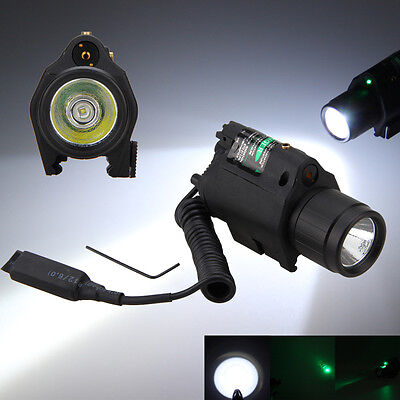Tactical Green&Red Laser Sight CREE LED Flashlight Combo + Picatinny Rail Mount