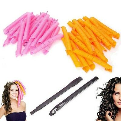 40Pcs 50CM Hair Curlers Twist Spiral Circle Curl Ringlets Magic Styling Rollers