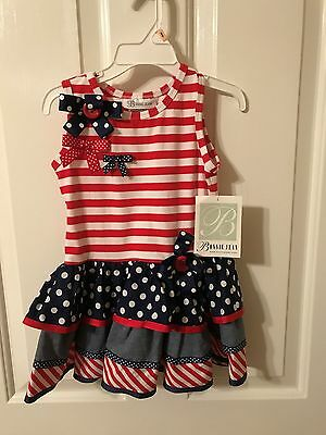Bonnie Jean Girls 2T Red, White & Blue Ruffle Tiered Dress, NWT