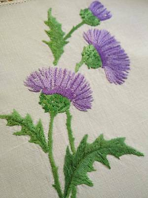 'Oh Bonnie Scotland' ~ Vintage Centrepiece -  Hand Embroidered Purple Thitles