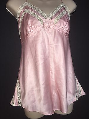 Vtg Victorias Secret Satin Romper Teddy Lace French High Cut GOLD Label Pink M