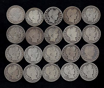 Roll (20) Barber Half Dollars 90% Silver (1899-1914) Lot P61
