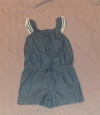EUC Cherokee Toddler Girl Clothes 5T One Piece Sleeveless Chambray Romper