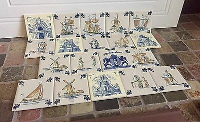 Mixed Lot of 9 KLM AIRLINES Business Class Delft Tiles Coaster Felt Back