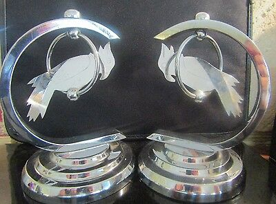 Original Small Signed French Art Deco Chrome Swinging Parrots Ornaments Antique