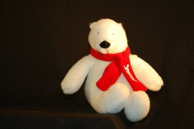 "Coca Cola Red Scarf Polar Bear Stuffed Animal Lovey 6"" Plush White 2007"