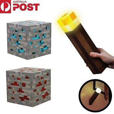 Minecraft Diamond Light Night Up Lamp Redstone Ore Cube Blue/Red Gift Toy AU