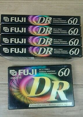 5x FUJI DR 60 Cassette Tapes Extra Slim Case New In Sealed Wrap