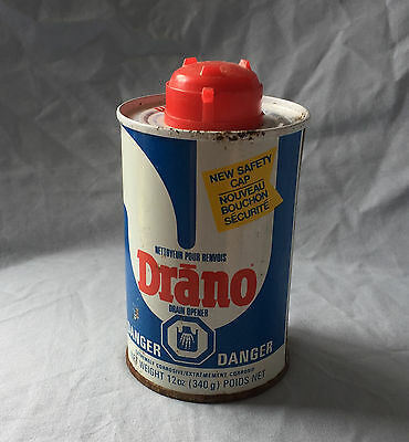 VINTAGE Drano Can Full Canada drain cleaner