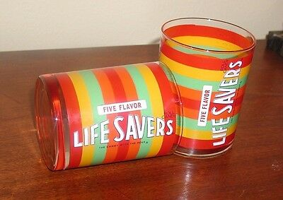 2 Vintage 1960's Life Savers 5 Flavor Candy With The Hole Drinking Glasses