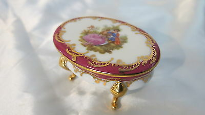 Classic Limoges 4 Footed Trinket Box Progress Of Love Scene France Stamped