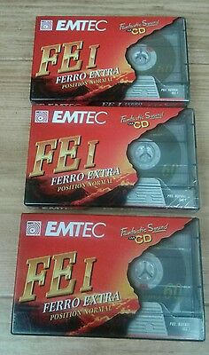 3x Blank EMTEC Ferro Extra FEI60 Cassette Tapes New In Wrap