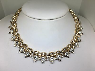 Vintage Signed Trifari Gold Tone Clear Rhinestone Adjustable Choker Necklace