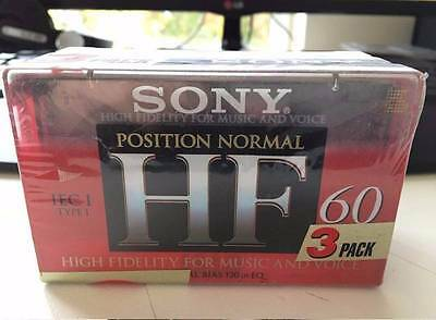 3 Sony Audio Cassette tapes Blank HF 60 High Fidelity Bulk Bundle New C60