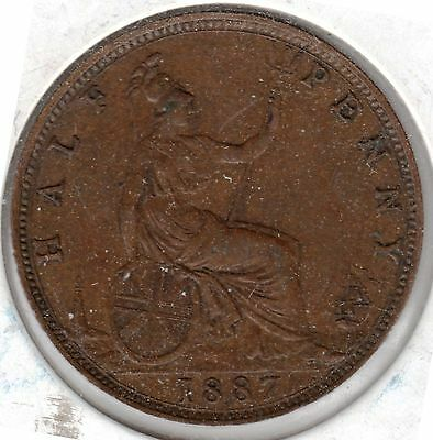 1887 Great Britain 1/2 Penny-Higher Grade, Take A L@@K!