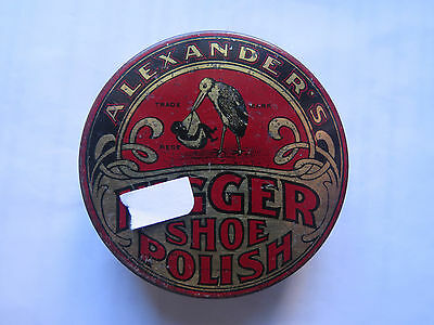 ALEXANDERS SHOE POLISH TIN c1930s ADELAIDE SOUTH AUSTRALIA STORK & BABY PICTURED
