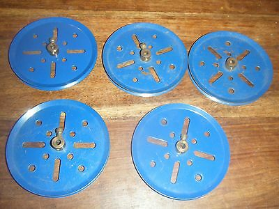 "5 Meccano Pulley Wheels 3"" Blue 1930's Vintage"