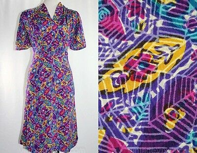 Size 12 1930's Vintage Spider Web Rayon Novelty Print Dress Bust 41