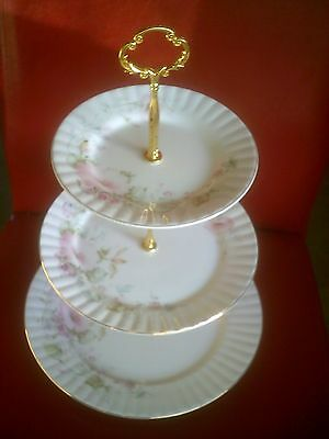beautiful royal stafford 3 tier delicate patterned cake stand