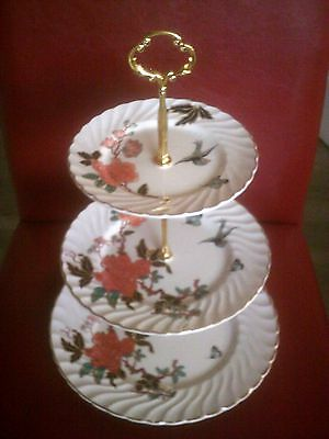 3 tiered vintage james kent old foley eastern glory cake stand