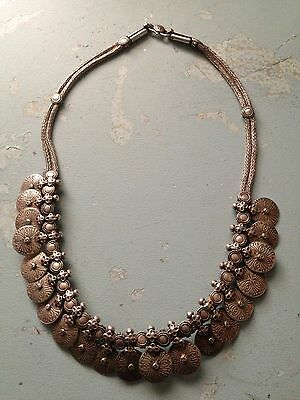 Lovely Solid Silver Boho Ethnic Neck Piece - approx 156g