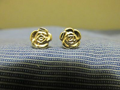 Signed 14 K Made in Italy Yellow Gold 7 mm~Rose~Stud Earrings~0.4 Grams