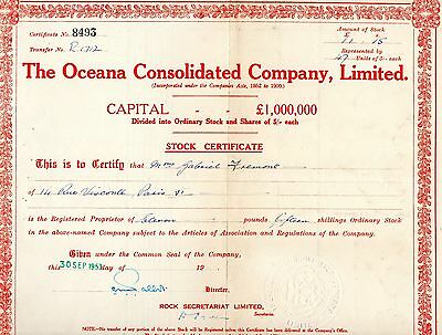 Certificat The Oceana Consolidated Compagnie Limited +  Letter Of Allotment