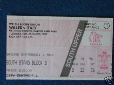Rugby Union International Ticket - Wales v Italy - 16/1/96