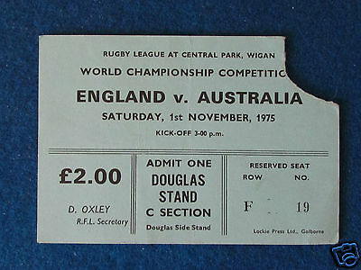 Rugby League World Cup Ticket - England v Australia - 1/11/75