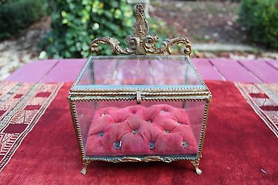 Antique French Large Jewelry Casket Box, Jewel, Glass