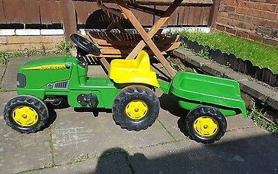 John Deere Kids Tractor & Trailer Ride On Childrens Pedal Toy