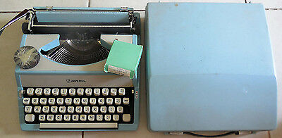 vintage  litton / imperial powderblue portable typewriter