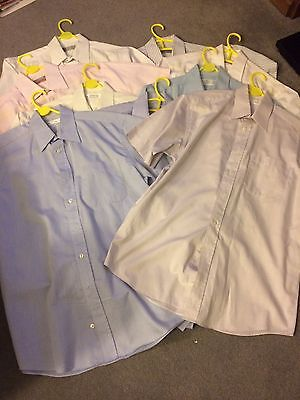 Job Lot of 9 Mens Short Sleeve Shirts -Size 15 - M&S; BHS - All very good condtn