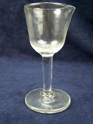 Antique stemmed glass folded foot polished pontil  pouring lip
