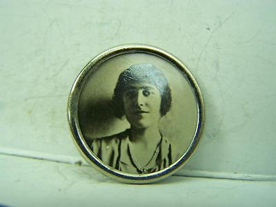 Pin back badge Queen Mother vintage black and white photograph            683