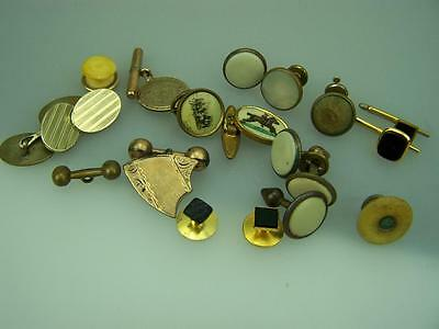 Assortment vintage mens cufflinks cuff links fobs barbell threaded some gold 814