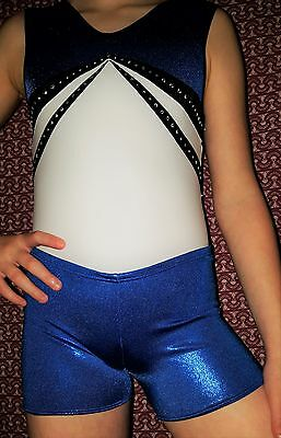"💗Girls QUATRO BODICE white/blue Leotard💗SIZE/AXS/32""/guide only 10-12 years💗"