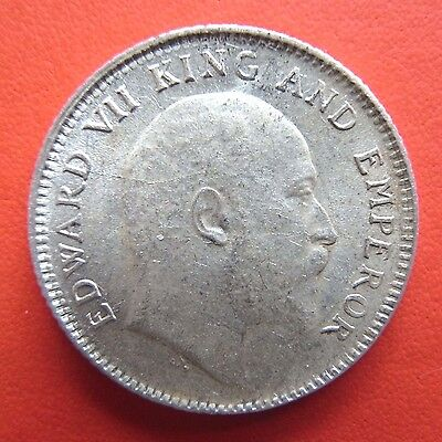 British India, Edward VII 1/4 Quarter rupee, silver coin, AU/UNC