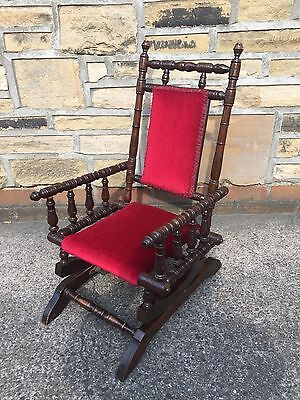 Antique Victorian Childs Rocking Chair With Spindle Arms