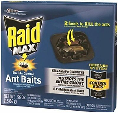 New* Raid Max Double Control Ant Baits 8-piece .56oz 3-month household poison