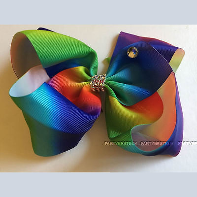 Large Hair Bow rainbow Bows Dance Moms girls accessories kids clips 6 inch A+