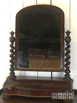 Large Victorian Cheval Dressing Mirror With Barley Twist Details and Storage